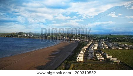 View of scenic beach in town