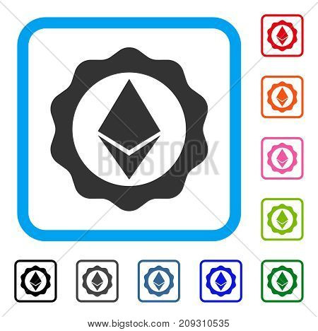 Ethereum Badge Seal icon. Flat gray iconic symbol in a light blue rounded rectangle. Black, gray, green, blue, red, orange color variants of Ethereum Badge Seal vector.