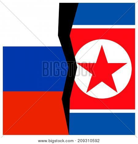 Russia and North Korea flags with a crack.