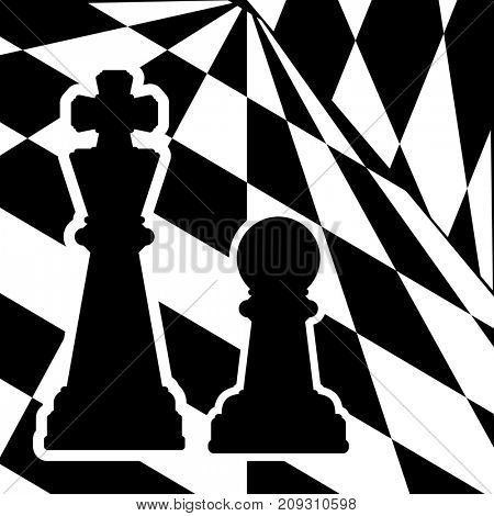 Chessboard with a chess pieces King and Pawn. Traditional Christmas holiday game.