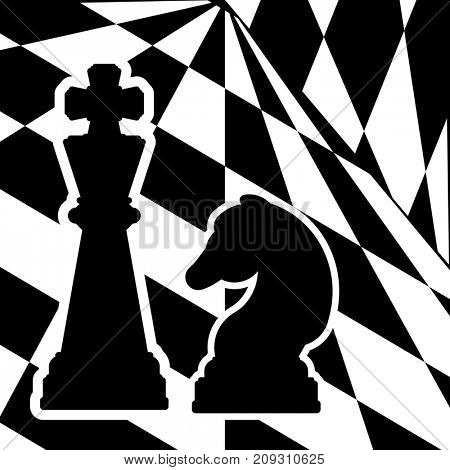 Chessboard with a chess pieces King and Knight. Traditional Christmas holiday game.