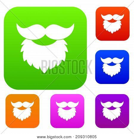 Beard and mustache set icon color in flat style isolated on white. Collection sings vector illustration