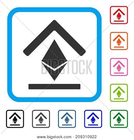 Ethereum Bank Roof icon. Flat grey iconic symbol inside a light blue rounded squared frame. Black, gray, green, blue, red, orange color versions of Ethereum Bank Roof vector.