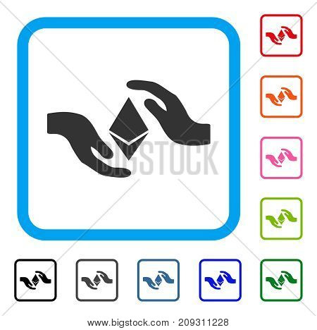 Ethereum Care Hands icon. Flat gray iconic symbol inside a light blue rounded squared frame. Black, gray, green, blue, red, orange color variants of Ethereum Care Hands vector.