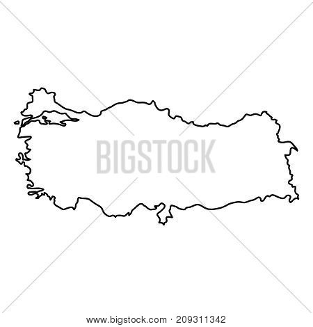 Turkey map of black contour curves of vector illustration