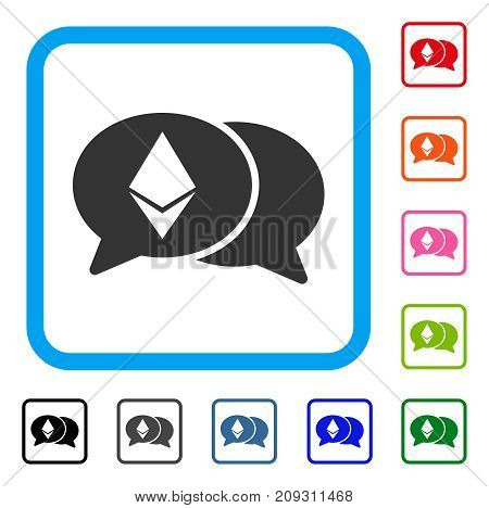 Ethereum Chat icon. Flat gray iconic symbol inside a light blue rounded rectangle. Black, gray, green, blue, red, orange color versions of Ethereum Chat vector. Designed for web and software UI.
