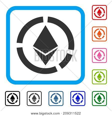 Ethereum Circle Diagram icon. Flat grey pictogram symbol in a light blue rounded rectangular frame. Black, gray, green, blue, red, orange color versions of Ethereum Circle Diagram vector.