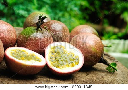 Fresh Passion fruit on the wooden table.