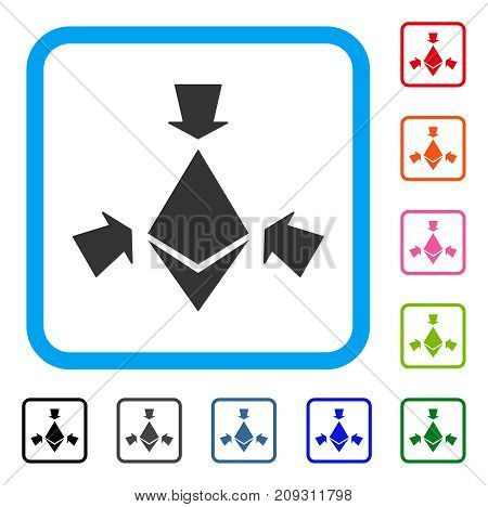 Ethereum Collect Arrows icon. Flat grey iconic symbol inside a light blue rounded square. Black, gray, green, blue, red, orange color versions of Ethereum Collect Arrows vector.