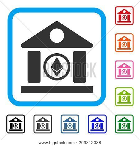 Ethereum Corporation Building icon. Flat grey pictogram symbol inside a light blue rounded rectangle. Black, gray, green, blue, red, orange color variants of Ethereum Corporation Building vector.