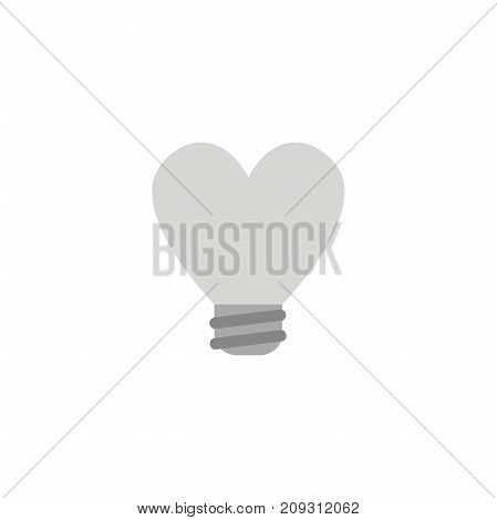 Flat Design Style Vector Concept Of Heart-shaped Light Bulb Icon On White