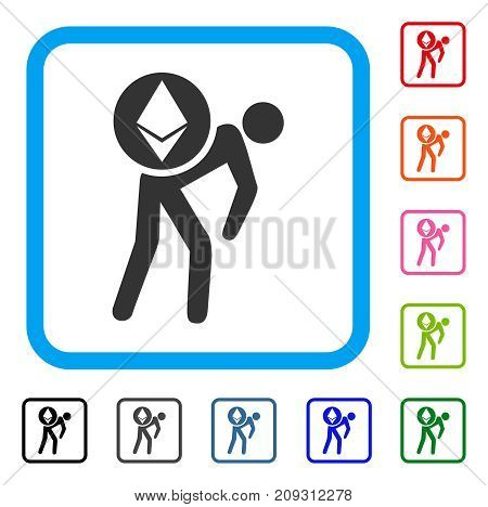 Ethereum Courier Person icon. Flat gray iconic symbol inside a light blue rounded frame. Black, gray, green, blue, red, orange color versions of Ethereum Courier Person vector.