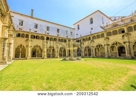 Silence Cloister or Claustro do Silencio of Santa Cruz Monastery. The Church of Santa Cruz is one of the most important religious buildings of Coimbra in Central Portugal, Europe. Sunny beautilful day