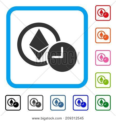 Ethereum Credit Clock icon. Flat gray pictogram symbol inside a light blue rounded frame. Black, gray, green, blue, red, orange color additional versions of Ethereum Credit Clock vector.