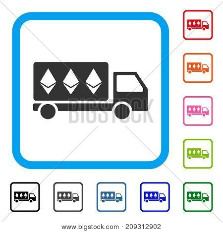 Ethereum Delivery Car icon. Flat grey pictogram symbol inside a light blue rounded square. Black, gray, green, blue, red, orange color versions of Ethereum Delivery Car vector.