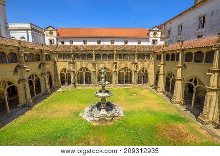 Aerial view of Silence Cloister or Claustro do Silencio of Santa Cruz Monastery and Church one of the most important religious buildings of Coimbra in Central Portugal, Europe. Sunny beautilful day.