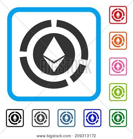 Ethereum Diagram icon. Flat grey pictogram symbol in a light blue rounded squared frame. Black, gray, green, blue, red, orange color versions of Ethereum Diagram vector.