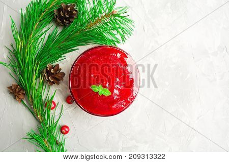Thanksgiving Day Cranberry Sauce Over Grey Background