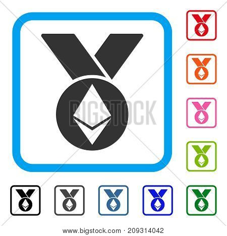 Ethereum Medal With Ribbons icon. Flat grey pictogram symbol in a light blue rounded frame. Black, gray, green, blue, red, orange color additional versions of Ethereum Medal With Ribbons vector.