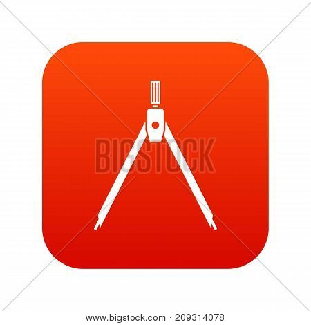 Drawing compass icon digital red for any design isolated on white vector illustration