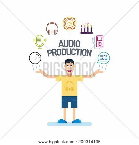 A Music Man Character In Yellow T-shirt With His Hands Up. Audio Icons Are Arranged In A Semicircle