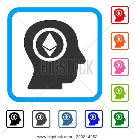 Ethereum Mind Head icon. Flat gray iconic symbol inside a light blue rounded rectangle. Black, gray, green, blue, red, orange color versions of Ethereum Mind Head vector.