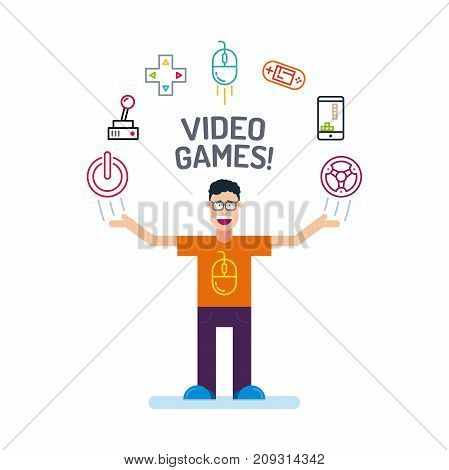 A Geek Man Character In Orange Tees And Glass With His Hands Up. Video Game Icons Are Arranged In A