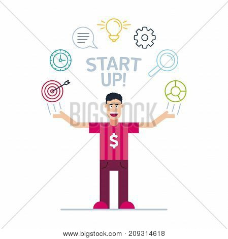 The Young Business Man Character In Colorful Stroke Tees And Print Dollar Symbol With His Hands Up.