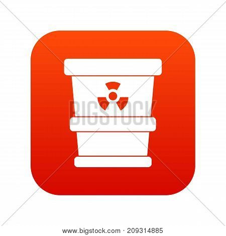 Trashcan containing radioactive waste icon digital red for any design isolated on white vector illustration