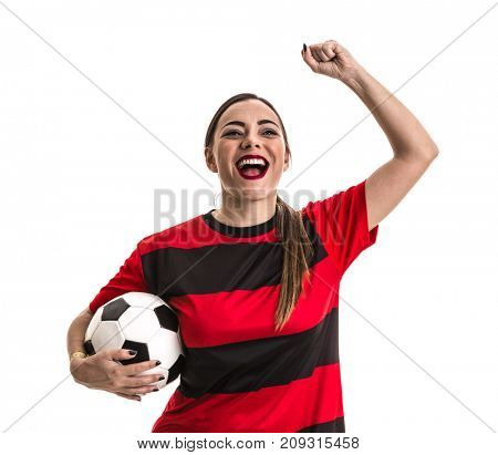 Soccer woman on red and black uniform isolated on white background