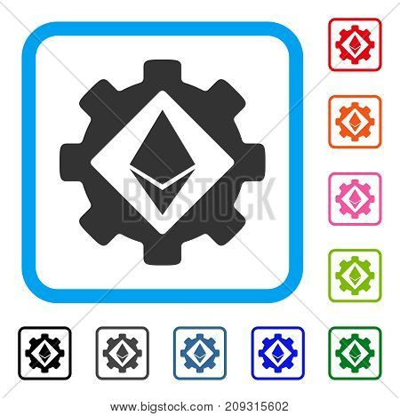 Ethereum Options Gear icon. Flat grey pictogram symbol in a light blue rounded frame. Black, gray, green, blue, red, orange color versions of Ethereum Options Gear vector.