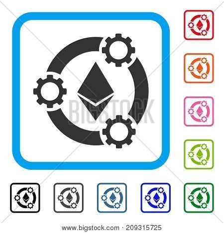 Ethereum Pool Collaboration icon. Flat gray pictogram symbol in a light blue rounded rectangle. Black, gray, green, blue, red, orange color additional versions of Ethereum Pool Collaboration vector.
