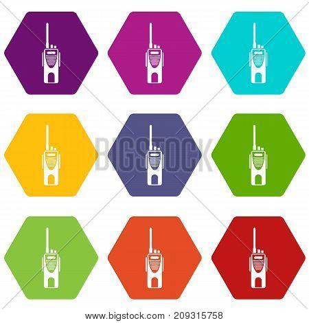Radio transmitter icon set many color hexahedron isolated on white vector illustration
