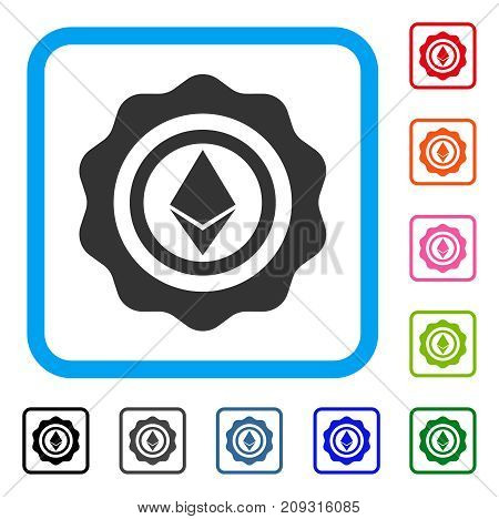 Ethereum Seal icon. Flat gray pictogram symbol inside a light blue rounded square. Black, gray, green, blue, red, orange color variants of Ethereum Seal vector. Designed for web and software UI.