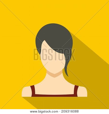 Girl avatar icon. Flat illustration of girl avatar vector icon for any web design
