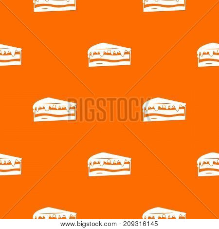 Cake pattern repeat seamless in orange color for any design. Vector geometric illustration