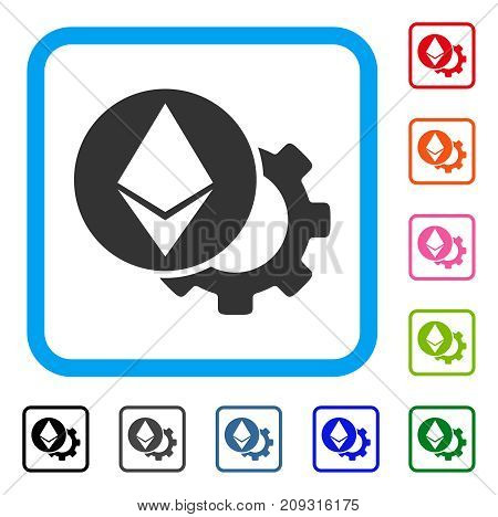 Ethereum Settings Gear icon. Flat grey pictogram symbol in a light blue rounded frame. Black, gray, green, blue, red, orange color versions of Ethereum Settings Gear vector.
