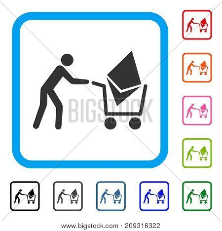 Ethereum Shopping Cart icon. Flat grey pictogram symbol inside a light blue rounded square. Black, gray, green, blue, red, orange color versions of Ethereum Shopping Cart vector.