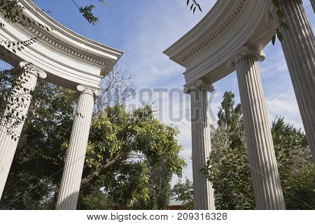 Colonnade in the garden named after Karaev in Evpatoria,  Crimea, Russia