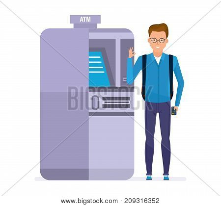 Student cartoon character person, customer, client of banking company, stands next to atm terminal, holds card in hand, shows sign okay. Banking, online payments, cash withdrawal. Vector illustration.
