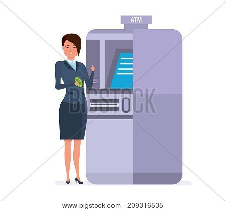 Businesswoman cartoon character person, customer, client of banking company, stands next to atm terminal, holds card, money, order to transfer funds to card. Finance operations. Vector illustration.