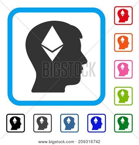 Ethereum Thinking Head icon. Flat gray iconic symbol inside a light blue rounded squared frame. Black, gray, green, blue, red, orange color versions of Ethereum Thinking Head vector.