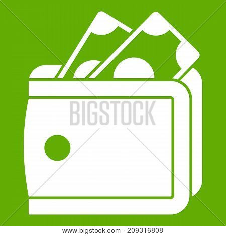 Wallet with cash icon white isolated on green background. Vector illustration