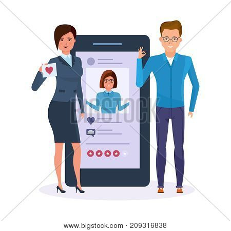 Information technology. Mobile applications. Sending messages, smiles in messenger, rating and evaluation photo. Social network for meetings and acquaintances men and women. Vector illustration.
