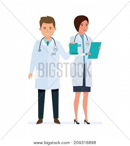 Character medical doctors, clerks. Healthcare and medical help. Health assistant. Joint work, team working people. Hospital medical staff. Vector illustration isolated in cartoon style.