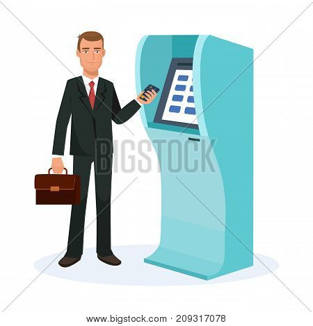 Businessman cartoon character person, customer, client of banking company, stands next to atm terminal, holds card, for cash withdrawal. Finance operations. Vector illustration.