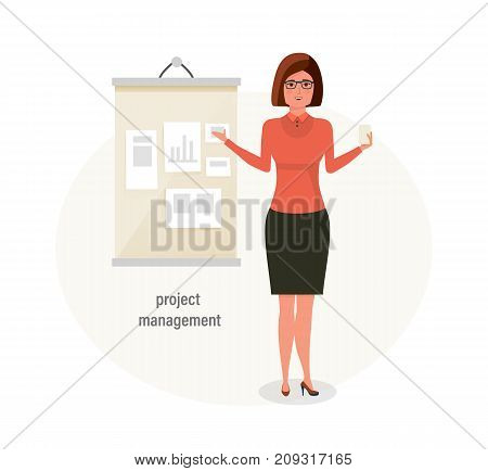 Girl, office worker, engaged in project management and control over projects, conducts training, carried out activity planning. Time management, business, planning. Vector illustration isolated.