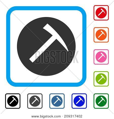 Mining Hammer icon. Flat gray iconic symbol inside a light blue rounded rectangle. Black, gray, green, blue, red, orange color additional versions of Mining Hammer vector.
