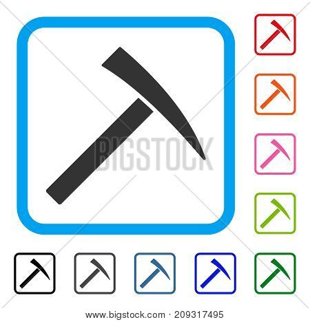 Mining Hammer icon. Flat gray iconic symbol in a light blue rounded rectangle. Black, gray, green, blue, red, orange color additional versions of Mining Hammer vector.