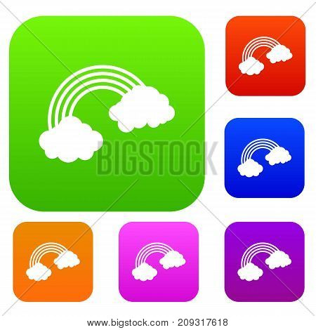 Rainbow set icon color in flat style isolated on white. Collection sings vector illustration